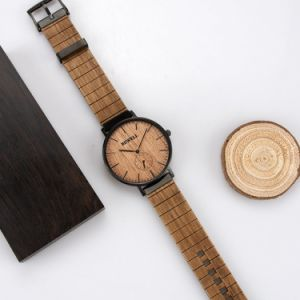 Van Bedrijfs mens van het Polshorloge van het Roestvrij staal van de Horloges van de Douane van de luxe Houten Horloge