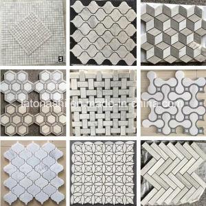 Bianco Polished/caduto/Carrara/esagono/mosaico di marmo di pietra delle mattonelle per il pavimento/parete/stanza da bagno/Backsplash/Tabella/reticoli
