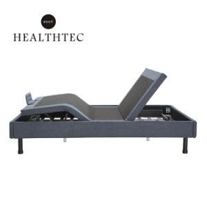 Ajustable de cuero de color gris oscuro cama blanda