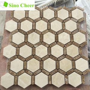Mezcla de Crema Marfil hexagonal mosaico de mármol Emperador