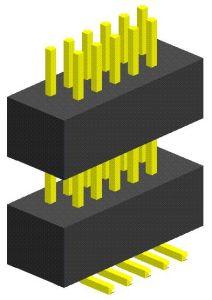1,0Mm tipo SMT duas linhas de pinos plásticos Dupla