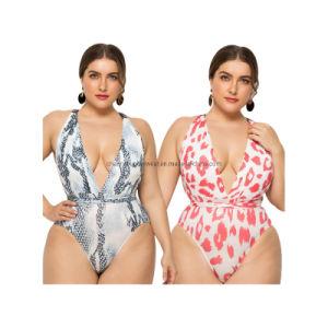 2019 Één v-Hals Piepe Bikini Swimwear plus het Zwempak van de Vrouwen van de Grootte
