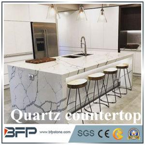Pedra de decoração lajes de quartzo Quartzo Calacatta Bancada high-end para Villas Hotel Recepcionista Desk Top