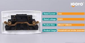 La norme britannique Double 13un pôle double socket avec néon