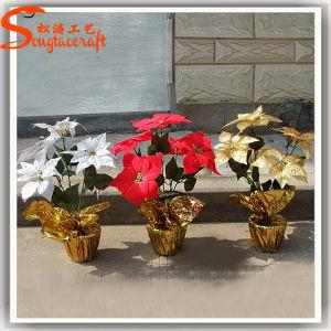 China Fornecedor Poinsettia Artificial decorativas Bonsai Flor (TC-02)