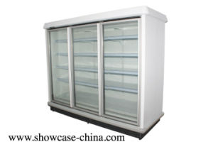La vetrina di vetro verticale del congelatore di Multiceck del portello del supermercato con foschia libera dB1.6L4f