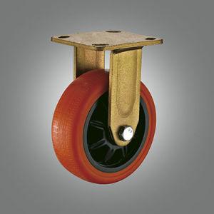 Rotação do rolamento de esfera dupla PU Caster do freio lateral