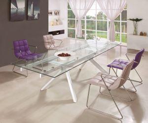 Moderner Fabrik-Raum-ausgeglichenes Glas-Speisetisch mit dem Metallbein