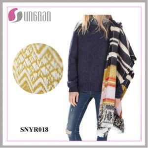 暖かい卸し売り冬のジャカード雪片のふさはカシミヤ織のスカーフを模倣する