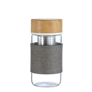 El BPA Freedouble reutilizables de pared 400ml Infuser borosilicato de botellas de agua con tapa de cristal y los pequeños de la copa de cristal