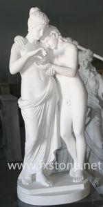 Antiek Marmeren Beeldhouwwerk van Amor en Psyches