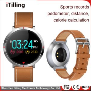 Distribuidor de 2018 última ronda de la pantalla de color Fitness Sport Reloj inteligente con la frecuencia cardíaca/registro del sueño/Podómetro/recordatorio/sedentarios de la presión arterial