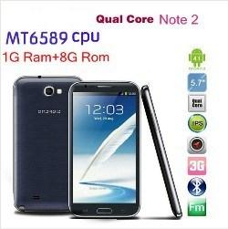 5.8 Polegada Mtk6589 S7589 Qual Core 1GB+8GB Nota2 Android Market 4.1 GPS WiFi 3G WCDMA Destravar telefone móvel Android