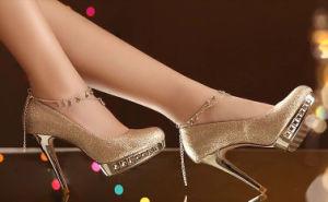 Nuevo estilo de tacón de moda señoras vestido de novia zapatos
