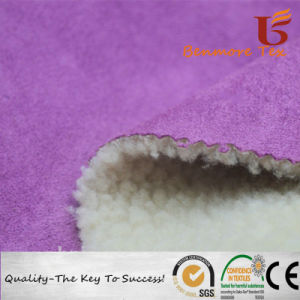 Tessuto legato di Sherpa del tessuto della pelle scamosciata del poliestere per il rivestimento