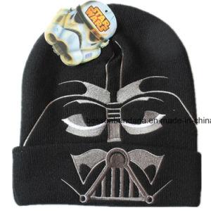 工場農産物によってカスタマイズされる漫画のアップリケの子供のニットのジャージーEarflapの帽子の帽子