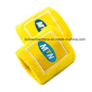 工場OEMの農産物のカスタムロゴによって刺繍される黄色い綿タオルのリスト・ストラップ