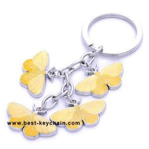 Anello chiave divertente di colore della farfalla piena in lega di zinco del metallo (BK11124)