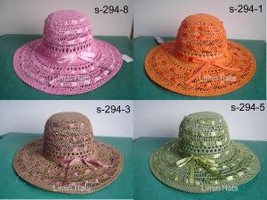 Papel trenzado Dama gran sombrero de paja de ala (S-294)