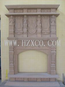 Arenito amarelo/Mantel lareira em mármore/lareira de pedra/em mármore/Gravar Stone/lareira decorativa