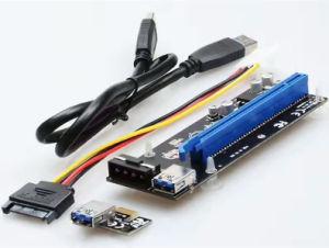 2017new scheda 1X della colonna montante di arrivo PCI-E PCI Express 16X al cavo di dati del USB 3.0 SATA 4pin all'alimentazione elettrica di ido Molex per la macchina del minatore di Btc