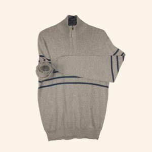 Media cremallera rayas Jersey delantera tejer camiseta para hombres