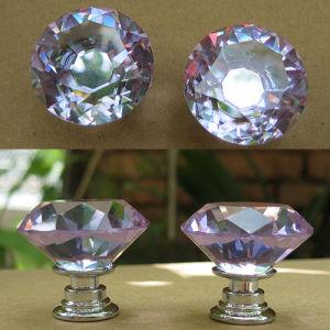 Geringfügiges Purple 30mm Crystal Shiny Knobs in Silver
