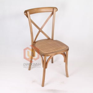 Color marrón apilable de vuelta de la cruz de madera de haya silla de jardín