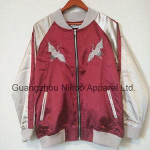 주문 유행 수를 놓은 로고 호화스러운 실크 공단 재킷