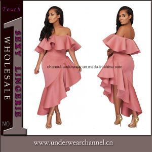 Mesdames asymétrique rose volant hors Parti de l'épaule robe de soirée61880-10 (T)