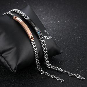 Presente Esg11089 di giorno del biglietto di S. Valentino d'acciaio di titanio del braccialetto di Zircon di modo del braccialetto delle coppie