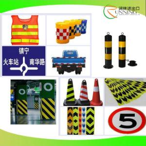 Verkehrszeichen mit WARNING-reflektierendem Band