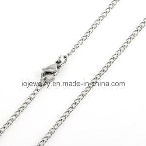Collar de cuero negro con mosquetón de plata