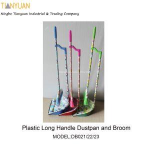 Dustpan e scopa lunghi di plastica della maniglia con stampa