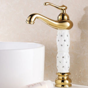 Alto colpetto del bacino del rubinetto della stanza da bagno di Flg con il disegno di cristallo di ceramica