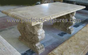 Jardim cadeira de mesa em mármore de pedra para mobiliário de jardim (QTB048)