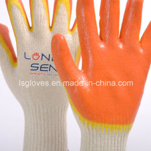 2回は二重カラー乳液によって塗られた安全作業手の手袋を浸した