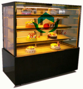 Bakery pastel expositor frigorífico con pantalla de cristal recto