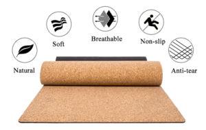 Goma Cork personalizable estera del yoga para Pilates Fitness Antideslizante ecológica