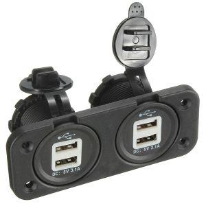 5V 1A 2.1A USB Splitter 4 toma doble Cargador Adaptador para teléfono GPS MP3.
