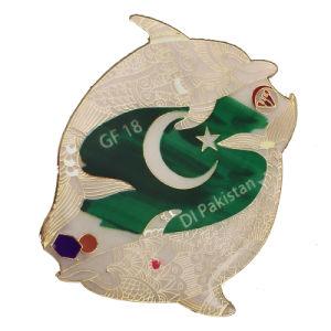 Superer QualitätsPersonized weicher Cloisonne Delphin-Pakistan-Metallandenken-ReversPin mit Diamanten (216)