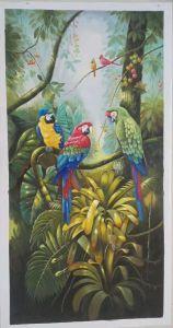 Pitture a olio dipinte a mano pure del pappagallo su tela di canapa