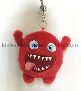 4 인치에 의하여 견면 벨벳 찡그린 얼굴 빨간 괴물 Keychain 채워지는 중요한 측정기