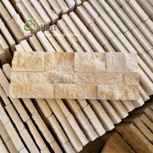 La Chine de gros de revêtement mural en pierre calcaire jaune