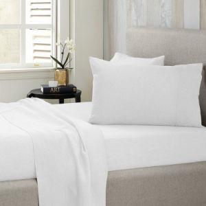 Fabricante China dolor barato Hotel blanco montado la hoja 100% algodón