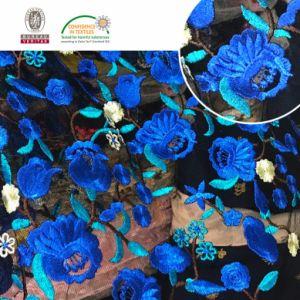 マルチカラー刺繍の網のレースファブリック化学薬品のレース