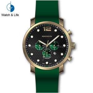 Relógio de pulso de aço dos homens de faixa do silicone de Stainles do esporte automático Multifunction