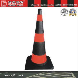 Réflectif 100cm Flexible en caoutchouc noir cône d'avertissement de signer avec Orange les catadioptres (CC-A102)