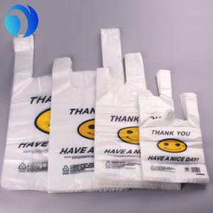 De HDPE/LDPE PE Custom Supermercado comercial de amido de milho de plástico biodegradável Environment-Friendly Compostável Sacos camiseta de impressão em rolo ou no Pack