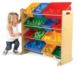 خشبيّة لعب تخزين من مع 12 بلاستيكيّة خانة [هيغقوليتي]